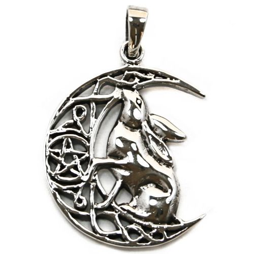 Moon owl with pentagram silver pendant p068 moon gazing hare silver pendant p067 aloadofball Image collections